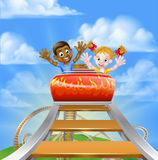 Roller Coaster Fair Theme Park. Cartoon boy and girl kids riding on a roller coaster ride at a theme park or amusement park stock illustration