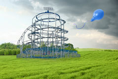 Roller coaster in the field Royalty Free Stock Images