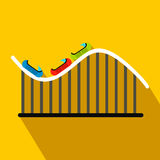 Roller coaster flat icon. On a yellow background Royalty Free Stock Photo