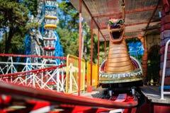 Roller Coaster in funny amusement park Stock Photos