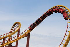 Roller coaster Goudrix close up in the loop at Park Asterix, Ile de France, France Stock Photography