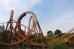Roller coaster Goudrix in the loop at Park Asterix, Ile de France, France Stock Image