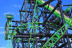 Roller Coaster Green Lantern detail Royalty Free Stock Image