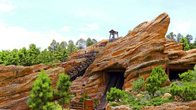 Roller coaster at grizzly gulch of disneyland hong Stock Images