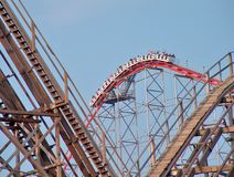 Roller Coaster Hill. A roller coaster approaching the top of the hill getting ready to make the big drop royalty free stock photography