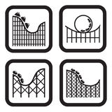 Roller coaster icon in four variations Royalty Free Stock Photos