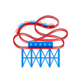 Roller coaster isolated on white vector Royalty Free Stock Photography