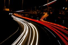 Roller coaster light trails on the highway in tenerife stock image