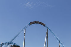 Roller coaster loop and blue sky Royalty Free Stock Photography