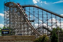 Roller Coaster In Mt.Olympus. Resort , Wisconsin Dells . WI USA 06/17/18 royalty free stock photos