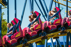 Roller coaster. Orenburg, Russia - 23 May 2015: Roller coaster attraction to entertain children and adults Royalty Free Stock Image