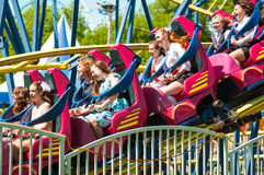 Roller coaster. Orenburg, Russia - 23 May 2015: Roller coaster attraction to entertain children and adults Stock Image
