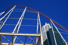 Roller Coaster over make-believe New York Royalty Free Stock Image