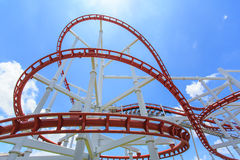 Roller coaster rail in blue sky Royalty Free Stock Photo