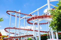 Roller coaster rail. On the day stock image