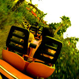 Roller Coaster Ride. A view from the seat of a roller coaster ride in an amusement park Stock Images
