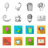 Roller coaster ride, balloon with basket, caruelle cup, ticket to the entrance to the park. Amusement park set. Collection icons in monochrome,flat style vector Stock Photography