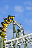 Roller coaster ride with blue sky in background Royalty Free Stock Photos