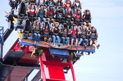 Roller coaster ride Busch Gardens Sheikra closeup Royalty Free Stock Images