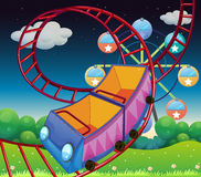 A roller coaster ride at the carnival. Illustration of a roller coaster ride at the carnival Royalty Free Stock Photos