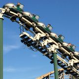 Roller coaster ride stock photo