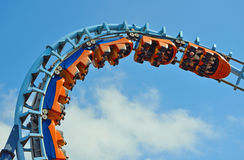 Roller coaster  ride filled  with thrill seekers Stock Images