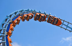 Roller coaster  ride filled  with thrill seekers. CORTON, SUFFOLK, ENGLAND - AUGUST 16, 2016: Roller coaster  ride filled  with thrill seekers Royalty Free Stock Photography