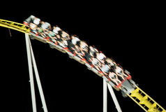 Roller coaster ride in the night, free time activities Royalty Free Stock Photos