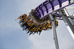 Roller coaster ride in the park Royalty Free Stock Photography