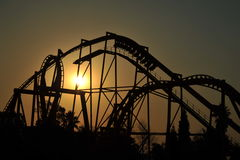 Roller coaster ride silhouette stock photo