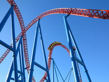 Roller coaster ride tracks with train Stock Photography