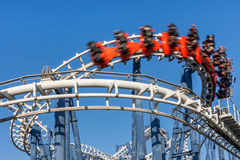 Roller coaster ride. Roller coaster ride under blue sky Royalty Free Stock Photography