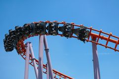 Roller coaster ride was people screaming loudly, joyfully. And t Royalty Free Stock Photo