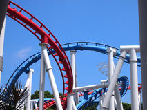 A roller coaster's loop with blue sky Royalty Free Stock Image