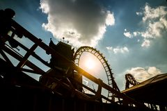 Roller coaster silhouette stock photography
