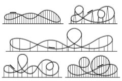 Free Roller Coaster Silhouette. Amusement Park Atractions, Switchback Attraction And Rollercoaster Vector Silhouettes Set Stock Photo - 142857590