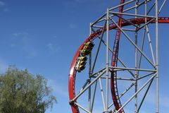 A roller coaster speeding down fast royalty free stock images