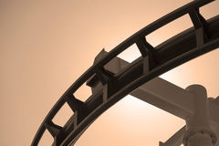 Roller coaster steel track in sepia. Stock Photography