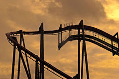 Roller coaster at sunset Royalty Free Stock Photos