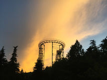 Roller coaster at sunset royalty free stock photo