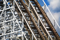 Roller Coaster Superstructure. And Tracks On A Beautiful Sunny Day Royalty Free Stock Images
