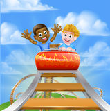 Roller Coaster Theme Park. Cartoon boys on a roller coaster ride at a theme park or amusement park Royalty Free Stock Photo