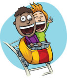 Roller Coaster Thrill. A young, cartoon couple are excited on a speeding roller coaster stock illustration