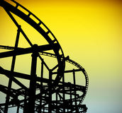 Roller coaster track silhouette Royalty Free Stock Photo