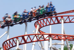 Roller coaster. The roller coaster train run in sky royalty free stock photography