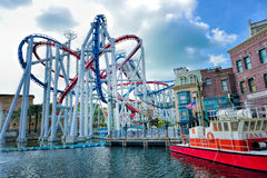 Roller coaster in Universal Studios Singapore Royalty Free Stock Image