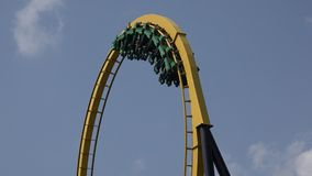 Roller Coasters, Rides, Amusement Parks stock footage