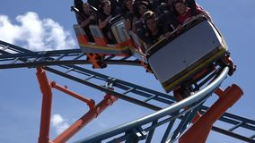 Roller Coasters, Rides, Amusement Parks stock video footage