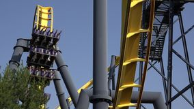 Roller Coasters, Rides, Amusement Parks. Stock video of a roller coaster stock video