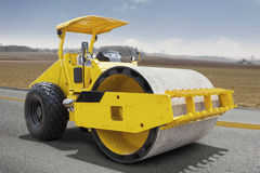 Roller compactor machine on the road Royalty Free Stock Photos